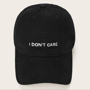 "Accessories - Black Embroidery ""I don't care"" Baseball Cap"